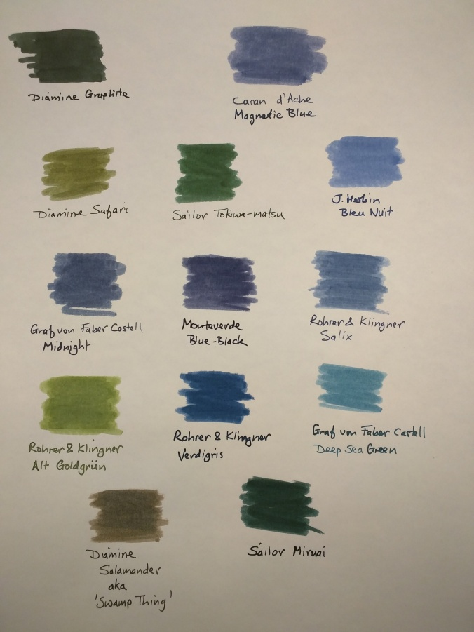 13 ink swatches