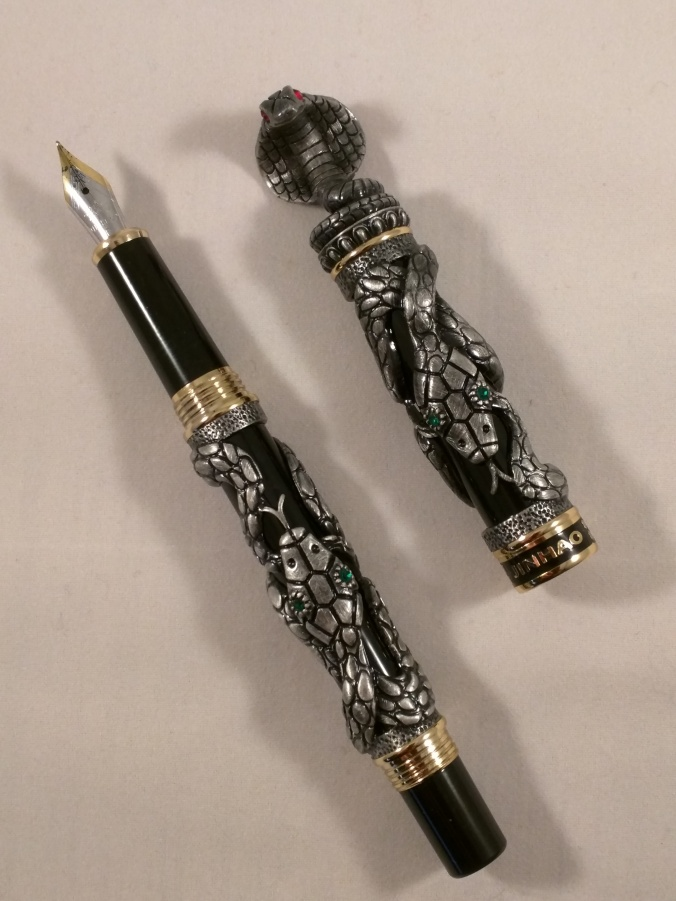 Jinhao 'snake' fountain pen showing nib