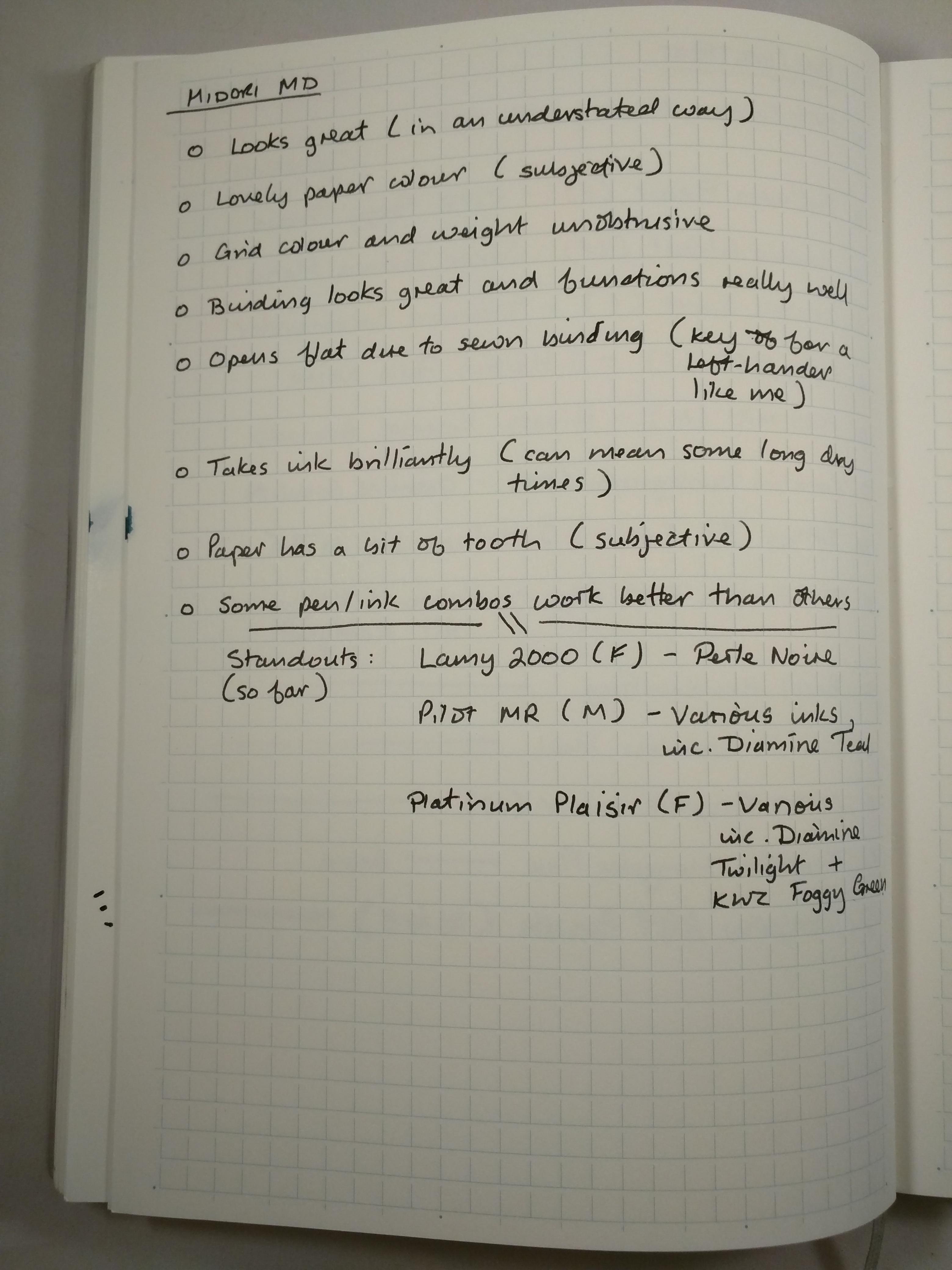 Midori MD handwriting sample