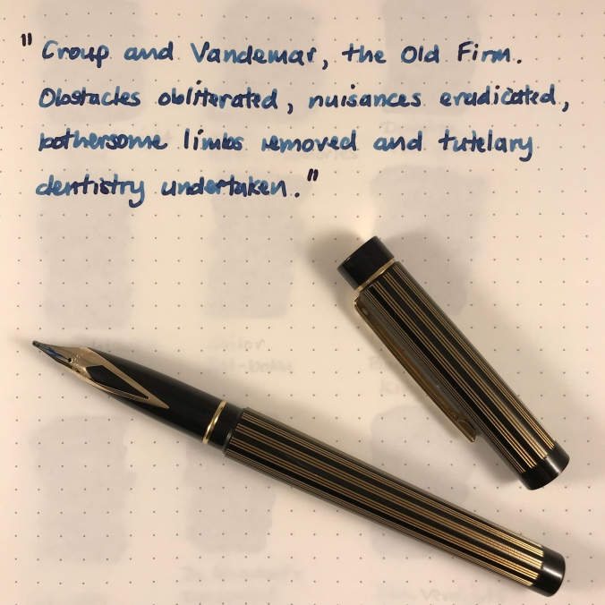 Writing sample with broad nib