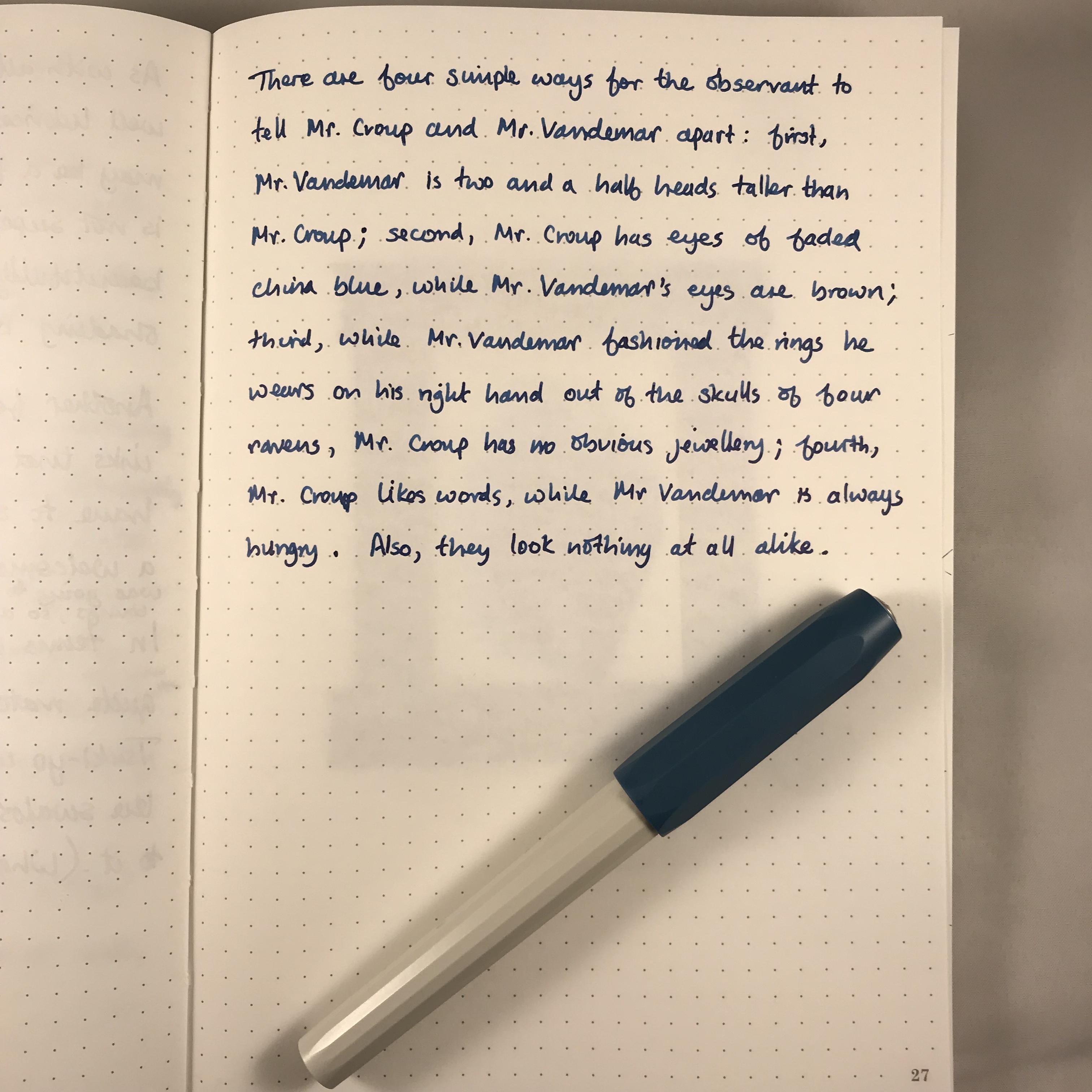Writing sample, Kaweco Perkeo, medium nib, Sailor Sei-boku, Tomoe River