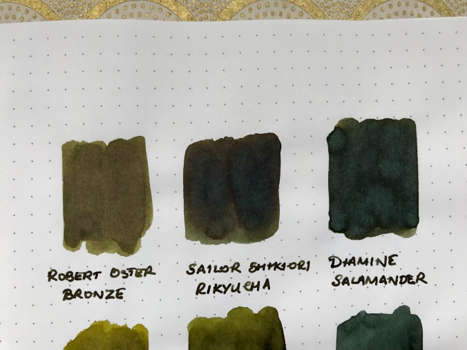 Close-up of ink swatches
