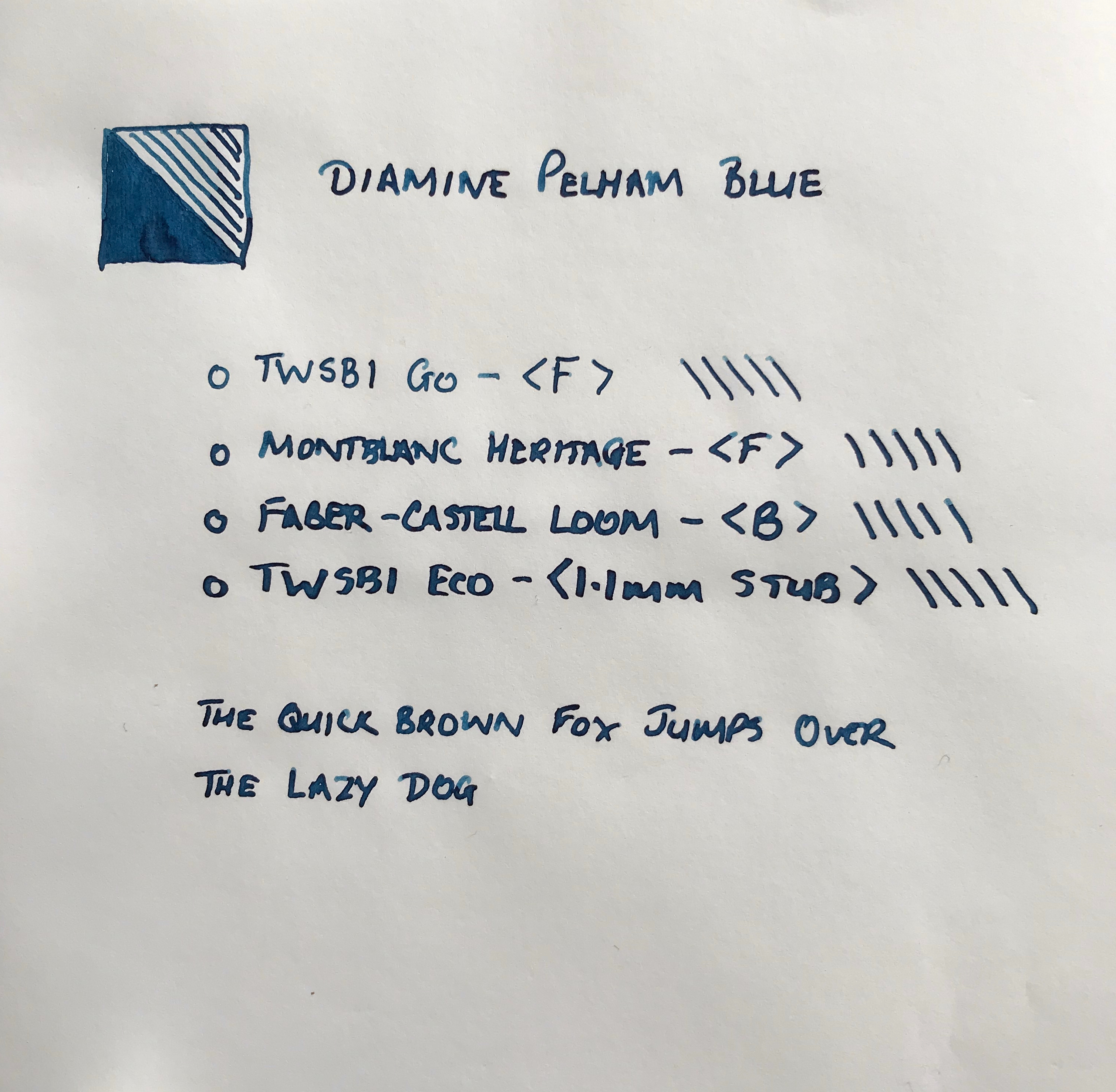 Pelham Blue in various pens