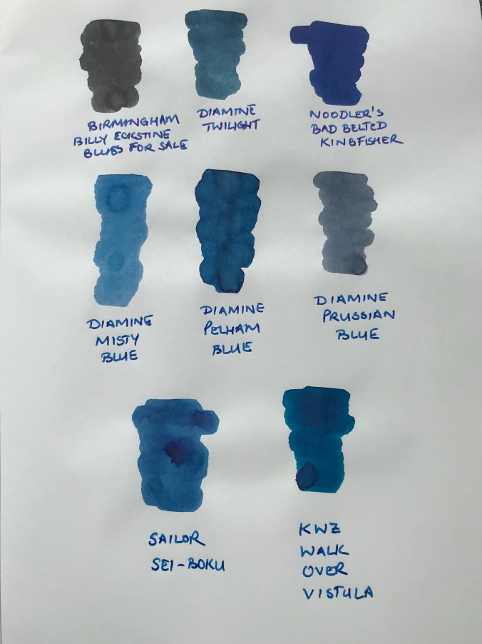 Comparison ink swatches